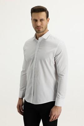 Erkek Giyim - BEYAZ XL Beden Uzun Kol Küçük Yaka Slim Fit Desenli Gömlek