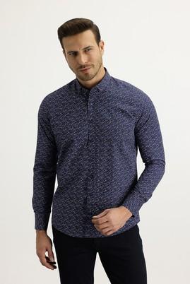 Erkek Giyim - LACİVERT XS Beden Uzun Kol Alttan Brit Yaka Slim Fit Desenli Gömlek