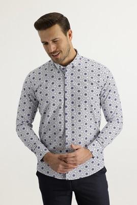 Erkek Giyim - LACİVERT S Beden Uzun Kol Alttan Brit Yaka Slim Fit Desenli Gömlek