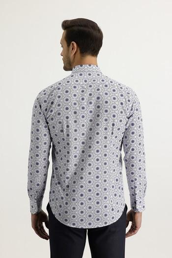 Erkek Giyim - Uzun Kol Alttan Brit Yaka Slim Fit Desenli Gömlek