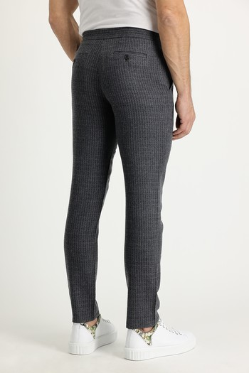 Erkek Giyim - Slim Fit Yünlü Beli Lastikli İpli Çizgili Pantolon