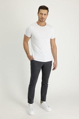 Erkek Giyim - KOYU ANTRASİT 50 Beden Slim Fit Yünlü Beli Lastikli İpli Çizgili Pantolon