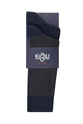 Erkek Giyim - KOYU KAHVE 39-41 Beden 2'li Desenli Çorap