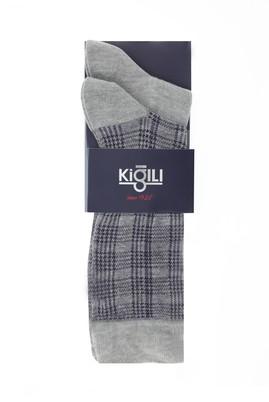 Erkek Giyim - AÇIK FÜME MELANJ 42-45 Beden 2'li Desenli Çorap