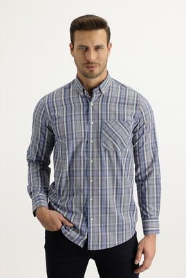Erkek Giyim - KOYU BORDO L Beden Uzun Kol Regular Fit Ekose Gömlek