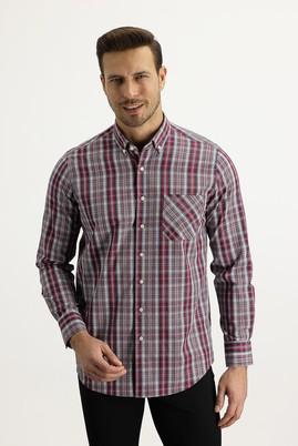 Erkek Giyim - KOYU KIRMIZI M Beden Uzun Kol Regular Fit Ekose Gömlek