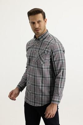 Erkek Giyim - MAVİ L Beden Uzun Kol Regular Fit Ekose Gömlek
