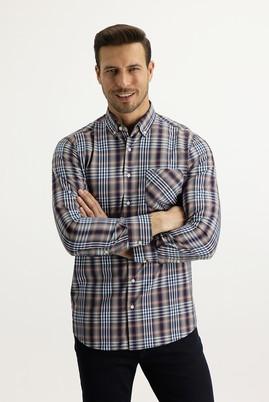 Erkek Giyim - HAVACI MAVİ M Beden Uzun Kol Regular Fit Ekose Gömlek