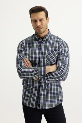 Erkek Giyim - KOYU YEŞİL XL Beden Uzun Kol Regular Fit Ekose Gömlek