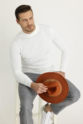 Erkek Giyim - BEYAZ 3X Beden Bato Yaka Regular Fit Triko Kazak