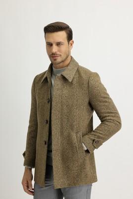 Erkek Giyim - HARDAL 46 Beden Yünlü Desenli Kaban