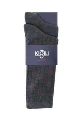 Erkek Giyim - KOYU ANTRASİT 39-41 Beden 2'li Desenli Çorap