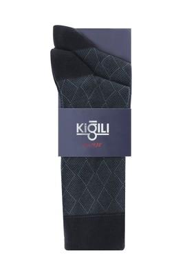 Erkek Giyim - SİYAH 39-41 Beden Tekli Desenli Çorap