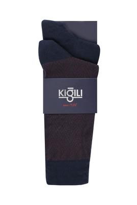 Erkek Giyim - AÇIK LACİVERT 42-45 Beden 2'li Desenli Çorap