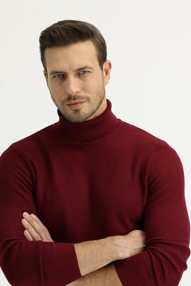 Erkek Giyim - AÇIK BORDO XL Beden Balıkçı Yaka Slim Fit Triko Kazak
