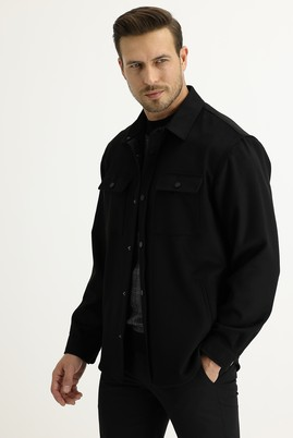 Erkek Giyim - SİYAH 46 Beden Shacket Gömlek / Mont