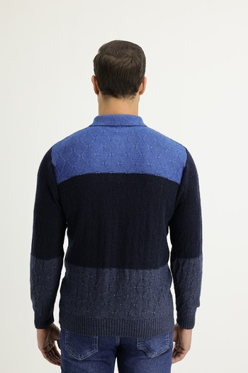 Erkek Giyim - Polo Yaka Regular Fit Yünlü Triko Kazak