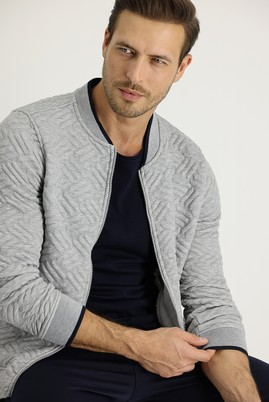 Erkek Giyim - AÇIK GRİ XXL Beden Regular Fit Fermuarlı Sweatshirt