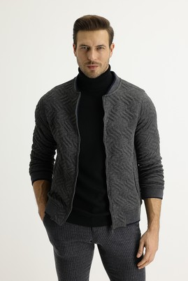 Erkek Giyim - TITANIUM GRİ S Beden Regular Fit Fermuarlı Sweatshirt