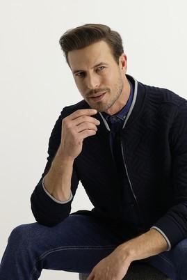 Erkek Giyim - KOYU LACİVERT XL Beden Regular Fit Fermuarlı Sweatshirt