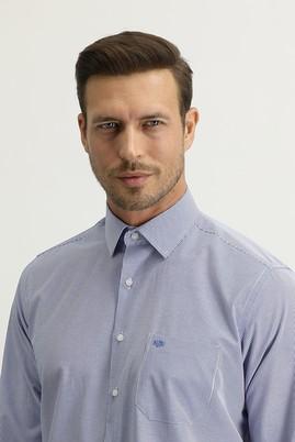 Erkek Giyim - MAVİ XL Beden Uzun Kol Regular Fit Çizgili Gömlek