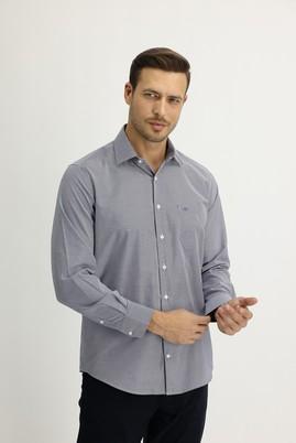 Erkek Giyim - ORTA LACİVERT XL Beden Uzun Kol Regular Fit Çizgili Gömlek