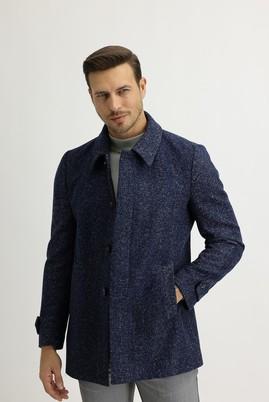 Erkek Giyim - MAVİ 48 Beden Yünlü Desenli Kaban