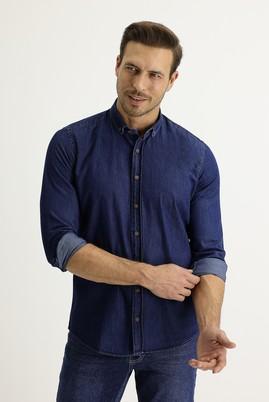 Erkek Giyim - KOYU LACİVERT S Beden Uzun Kol Regular Fit Denim Gömlek