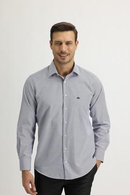 Erkek Giyim - AÇIK LACİVERT L Beden Uzun Kol Regular Fit Çizgili Gömlek