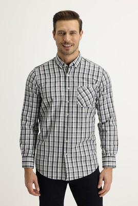 Erkek Giyim - SİYAH 3X Beden Uzun Kol Regular Fit Ekose Gömlek