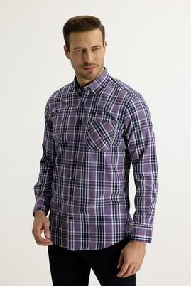 Erkek Giyim - LİLA L Beden Uzun Kol Regular Fit Ekose Gömlek