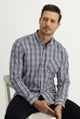 Erkek Giyim - AÇIK LACİVERT L Beden Uzun Kol Regular Fit Ekose Gömlek