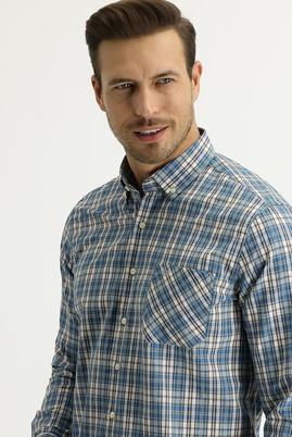 Erkek Giyim - MAVİ 3X Beden Uzun Kol Regular Fit Ekose Gömlek