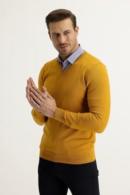 Erkek Giyim - SAFRAN 3X Beden V Yaka Regular Fit Triko Kazak