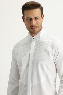 Erkek Giyim - BEYAZ XXL Beden Ata Yaka Slim Fit Gömlek