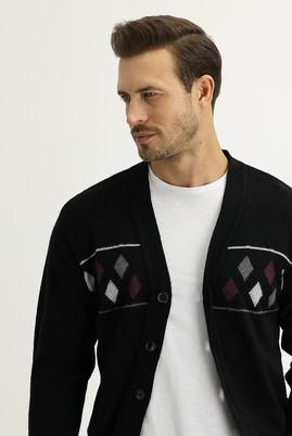 Erkek Giyim - SİYAH L Beden Regular Fit Yünlü Triko Hırka