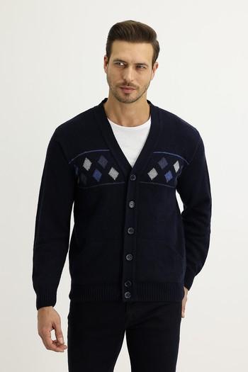Erkek Giyim - Regular Fit Yünlü Triko Hırka