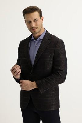 Erkek Giyim - ORTA KAHVE 58 Beden Klasik Desenli Ceket