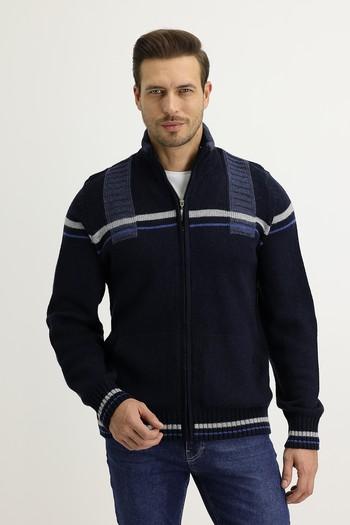 Erkek Giyim - Fermuarlı Yünlü Triko Hırka