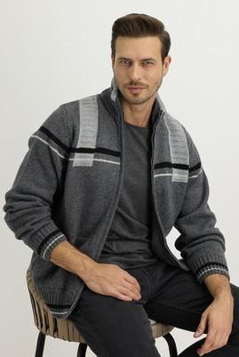 Erkek Giyim - ORTA FÜME L Beden Fermuarlı Yünlü Triko Hırka