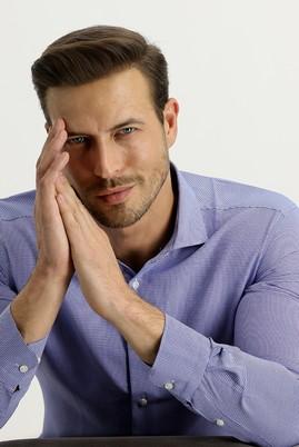 Erkek Giyim - GÖK MAVİSİ S Beden Uzun Kol Slim Fit Gömlek