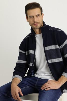 Erkek Giyim - ORTA LACİVERT L Beden Fermuarlı Yünlü Triko Hırka