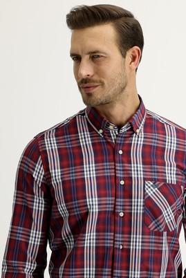 Erkek Giyim - AÇIK BORDO M Beden Uzun Kol Regular Fit Ekose Gömlek