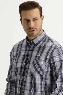 Erkek Giyim - LİLA M Beden Uzun Kol Regular Fit Ekose Gömlek