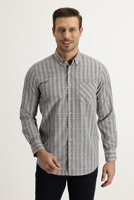 Erkek Giyim - AÇIK VİZON 3X Beden Uzun Kol Regular Fit Ekose Gömlek