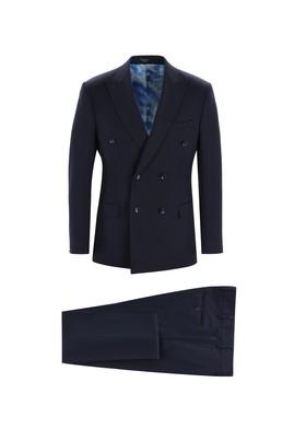 Erkek Giyim - KOYU LACİVERT 50 Beden Kruvaze Takım Elbise