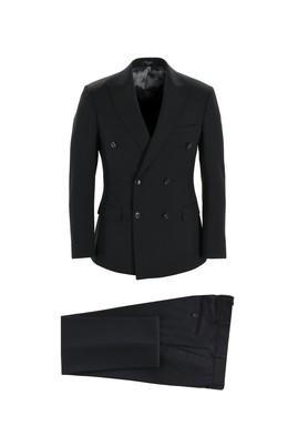Erkek Giyim - SİYAH 44 Beden Kruvaze Takım Elbise