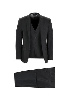 Erkek Giyim - SİYAH 48 Beden Klasik Yelekli Takım Elbise