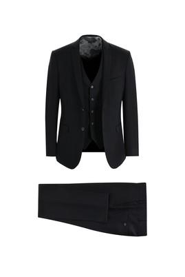 Erkek Giyim - SİYAH 44 Beden Klasik Yelekli Takım Elbise