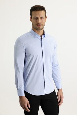 Erkek Giyim - AÇIK MAVİ XL Beden Uzun Kol Slim Fit Gömlek
